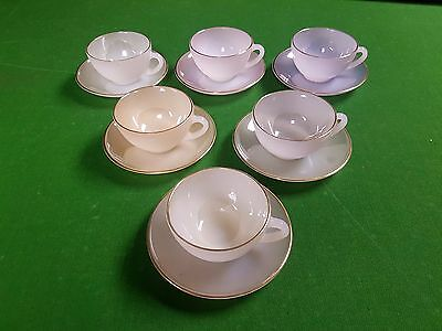 Set of 6 Vintage French Arcopal Opalescent Teacups and Saucers