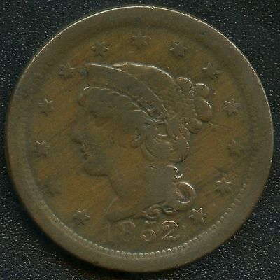 """1852 United States """"Braided Hair"""" 1 Cent Coin"""