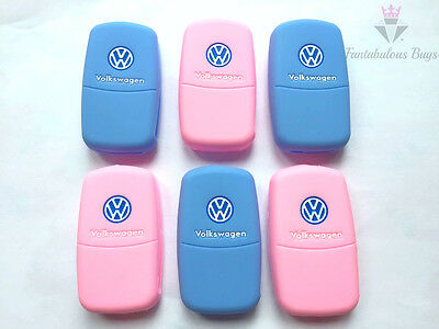Silicone Key Fob Cover Rubber Case Mk5 Mk6 Golf Beetle Eos Polo Blue Baby Pink