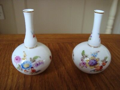 19th Century Meissen Insect Vases & Dresden Pin dish.