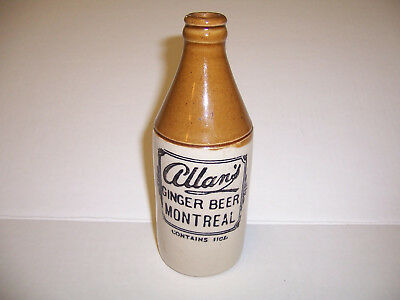 Allan's Ginger Beer Bottle Montreal Canade 11 oz  EXCELLENT CONDITION