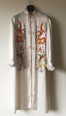Vintage Chinese Embroidered Silk Long Jacket Dragon Phoenix Robe