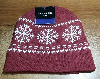 9ac9595f PINK MENS WOMENS KNIT FLEECE Lined Beanie Hat Cap Warm Winter ...