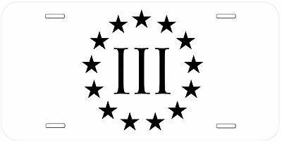 3 Percenters Glossy Aluminum Novelty Car License Plate Black-White-Gold-Silver