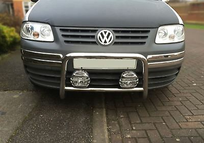 Volkswagen VW Caddy / Caddy Maxi 2004 - 2010 S/S Nudge Bullbar Abar + Spot Lamps