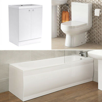 Bathroom Suite Straight Bath 1700 Close Coupled Toilet Vanity Unit 600 White