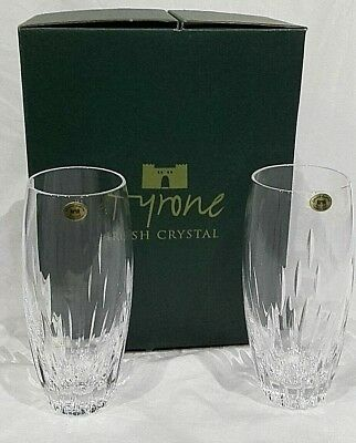Tyrone Irish Crystal LEON Pair of New Boxed Water Tumblers, 16cm