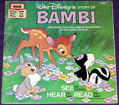 Bambi - Disney Tape & Book - 7 DC w/o Cassette!!! See Hear And Read!!!
