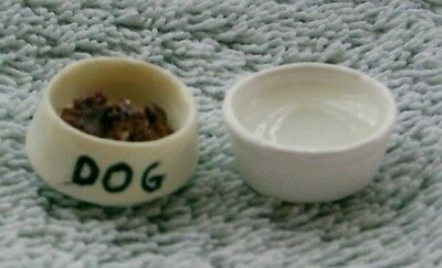 Dog Food and Water Bowls Dolls House Miniature 1/12th scale