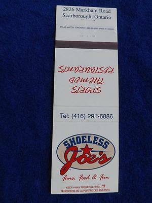 Sholess Joe's Sport Restaurant Bar Scarborough Ont Canada Vintage Matchbook
