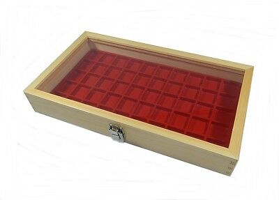 Natural Wood Glass Top Lid Red 50 Space Ring Charm Coin Jewelry Display Case