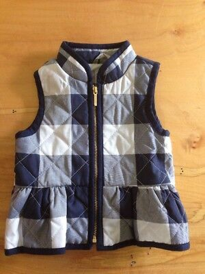 Janie And Jack Zip Up Vest Blue White Size 6-12 Months
