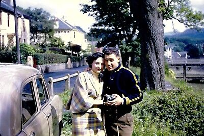 Kodachrome Red Border Vintage 35mm Slide Cute Couple 1950s With Car And Camera