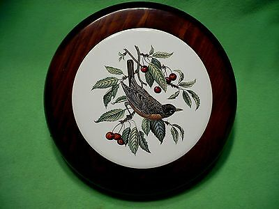 Vintage wood framed art pottery tile of a ROBIN perched on a cherry branch. Exc