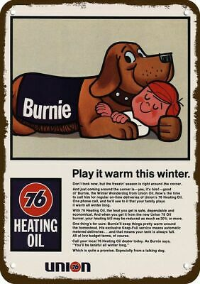 1968 UNION 76 HEATING OIL Vintage Look Replica Metal Sign - MASCOT DOG BURNIE