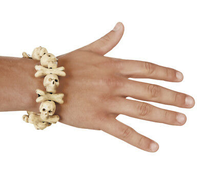 Adults Halloween Skull and Bones Bracelet Fancy Dress Accessory