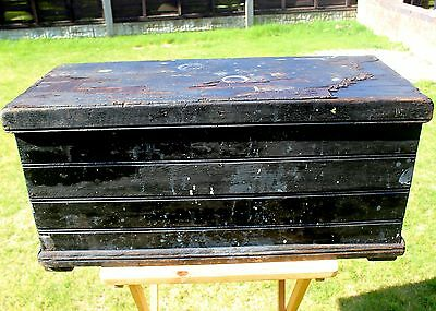 An Old Antique pine carpenters tool chest offering lots of potential uses