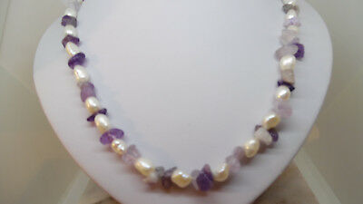 Freshwater Pearl and genuine Amethyst Necklace