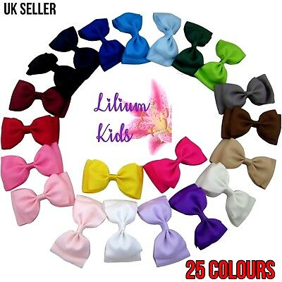 "Colourful Hair Bows - Double Layered 4"" With Clip"