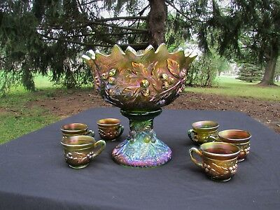 Northwood ACORN BURRS ANTIQUE CARNIVAL GLASS~COMPLETE~8 PC PUNCH SET~GREEN!