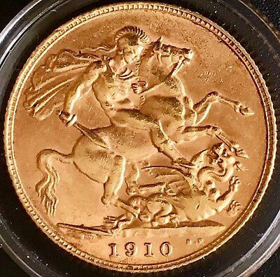 Edward VII Gold Sovereign 1910 George and Dragon NVF Condition In Capsule
