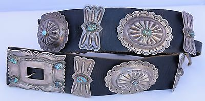Old HUGE, wide heavy sterling silver & Turquoise Navajo, scalloped concho belt