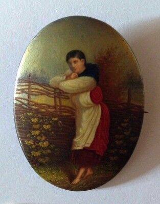 Antique Russian Imperial Miniature Papier Macher Portrait Lukutin Factory 1888