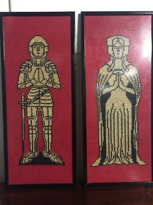 Vintage Pair Tapestry Wool Medieval Figures Knight Lady Red Gold Black Pictures