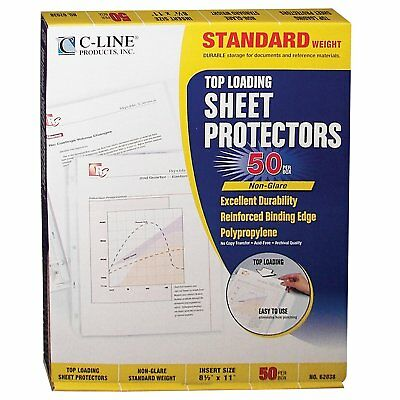 C-Line Top Loading Standard Weight Poly Sheet Protectors, Non-Glare, 8.5 x 11 50