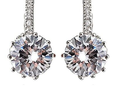 18k WHITE GOLD FILLED CLEAR SWAROVSKI CRYSTAL ROUND  DROP EARRING
