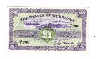 Guernsey,  1963 One Pound, Ef, A Couple Of Minor Bends, Really Nice Note