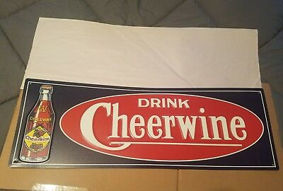 Cheerwine 100th Anniversary soda Sign. Painted metal. 28inx10in. Embossed