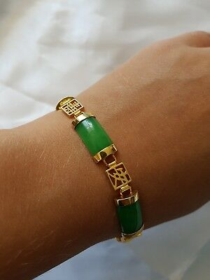 Chinese jade and gold tone / plated bracelet