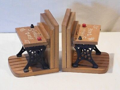 "Pair Vintage ""School Daze"" Bookends, Made of Cast Iron & Wood Adorable"
