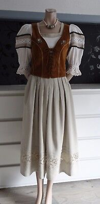 German Bavarian Landhaus/Trachten 3 pc. Outfit Leather Bodice 6