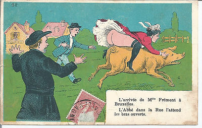 Original Risque France pc Lady riding on Pig showing her Bottom pu 1907