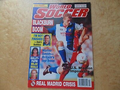 World Soccer Feb 93. Shearer,gullit,papain,real Madrid,schillaci,walter Smith.