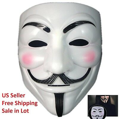 Lot V for Vendetta Mask Unisex Adult Halloween Costume Fawkes Anonymous