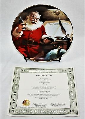 Coca Cola Christmas Plate Making A List Franklin Mint with COA