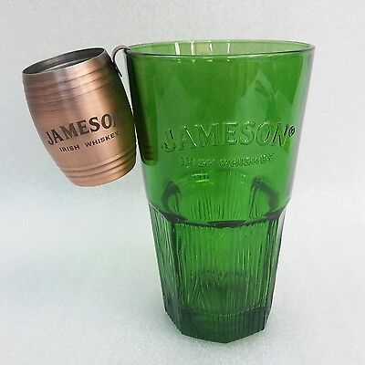 A Stunning Green Jameson Irish Whiskey Glass Tumbler and Copper Shot Barrel New
