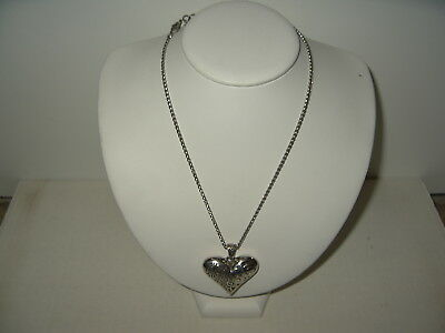 Pretty Silvertone BRIGHTON Swirl Motif Filigree Puffed Heart Necklace
