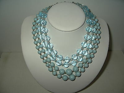 2 Vintage 2 Strand Light Blue Colored Graduated & Facetted Beads Necklaces