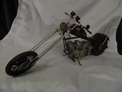 19?? Hd Motorcycle W/flames Handmade Antique Finish Metal Replicas