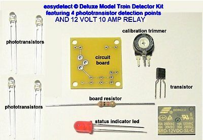 S SCALE MODEL TRAIN DETECTOR KIT with 12 volt relay FOR CROSSING ACTIVATION