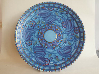 Beautiful large Art Deco Charlotte Rhead Tubelined Charger in blue red & gold