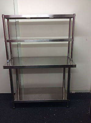 Brand New Stainless Steel Bench with Overshelving 1800x600x900x300x780 mm
