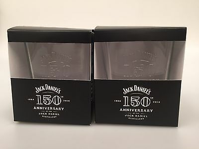 2 Jack Daniels 150th Anniversary Glasses Boxed Bar New JD Glass Bit Tatty Boxes