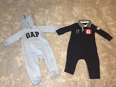 Lot Of 2 Baby Gap Boy's One Piece Toddler Blue 6-12 Months 6-9 Months Rompers