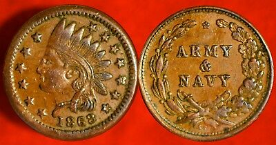 1863 Civil War Token! >>> Indian Army And Navy! Cool Coin! ***see Our Store!***
