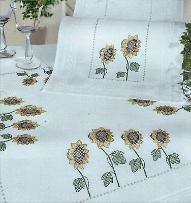 """TUSCAN SUNFLOWERS"" tablecloth KIT to CROSS STITCH.Stamped 80cm 100% cotton!SALE"